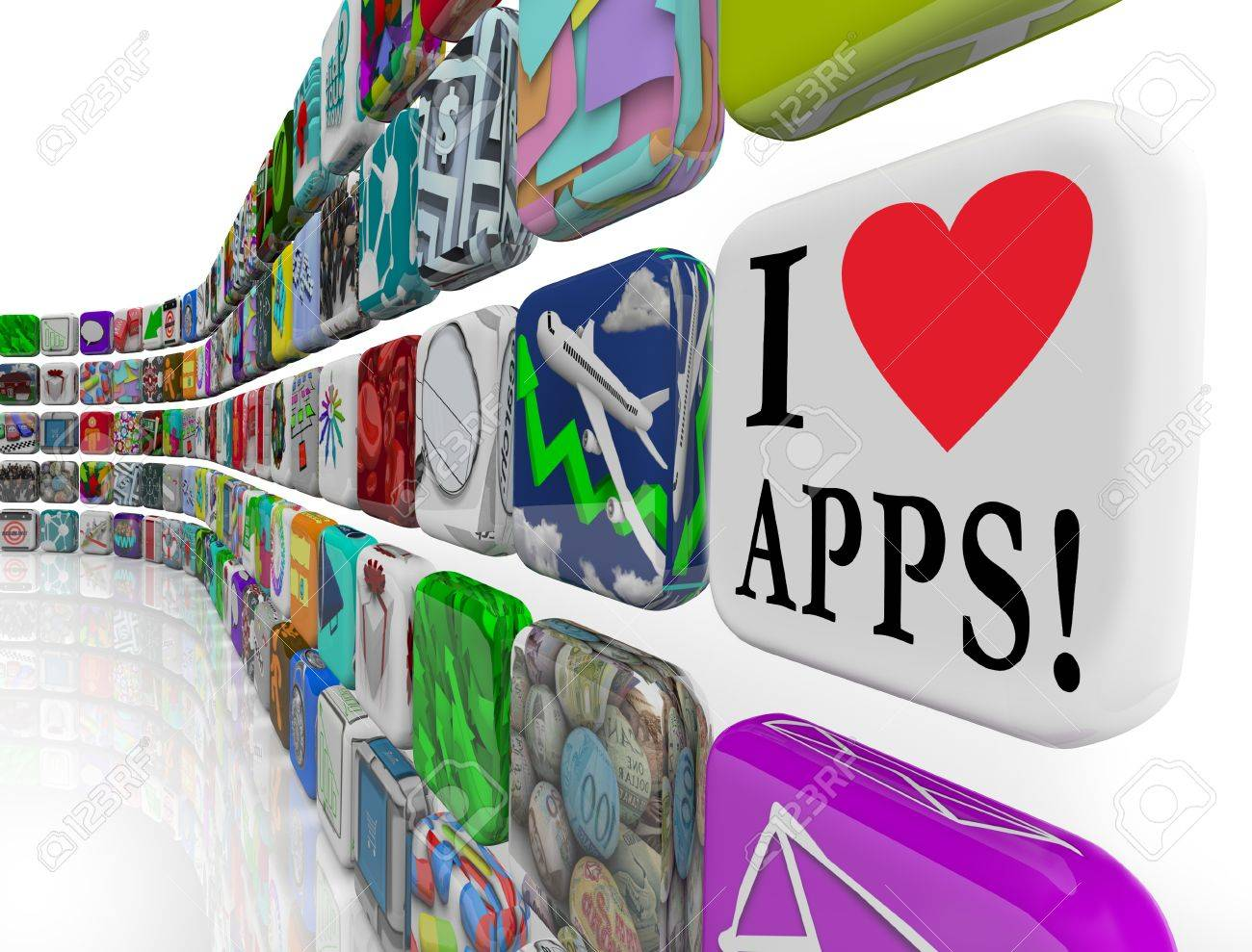 I Love Heart Symbol Apps On An Application Software Tile Icon In A