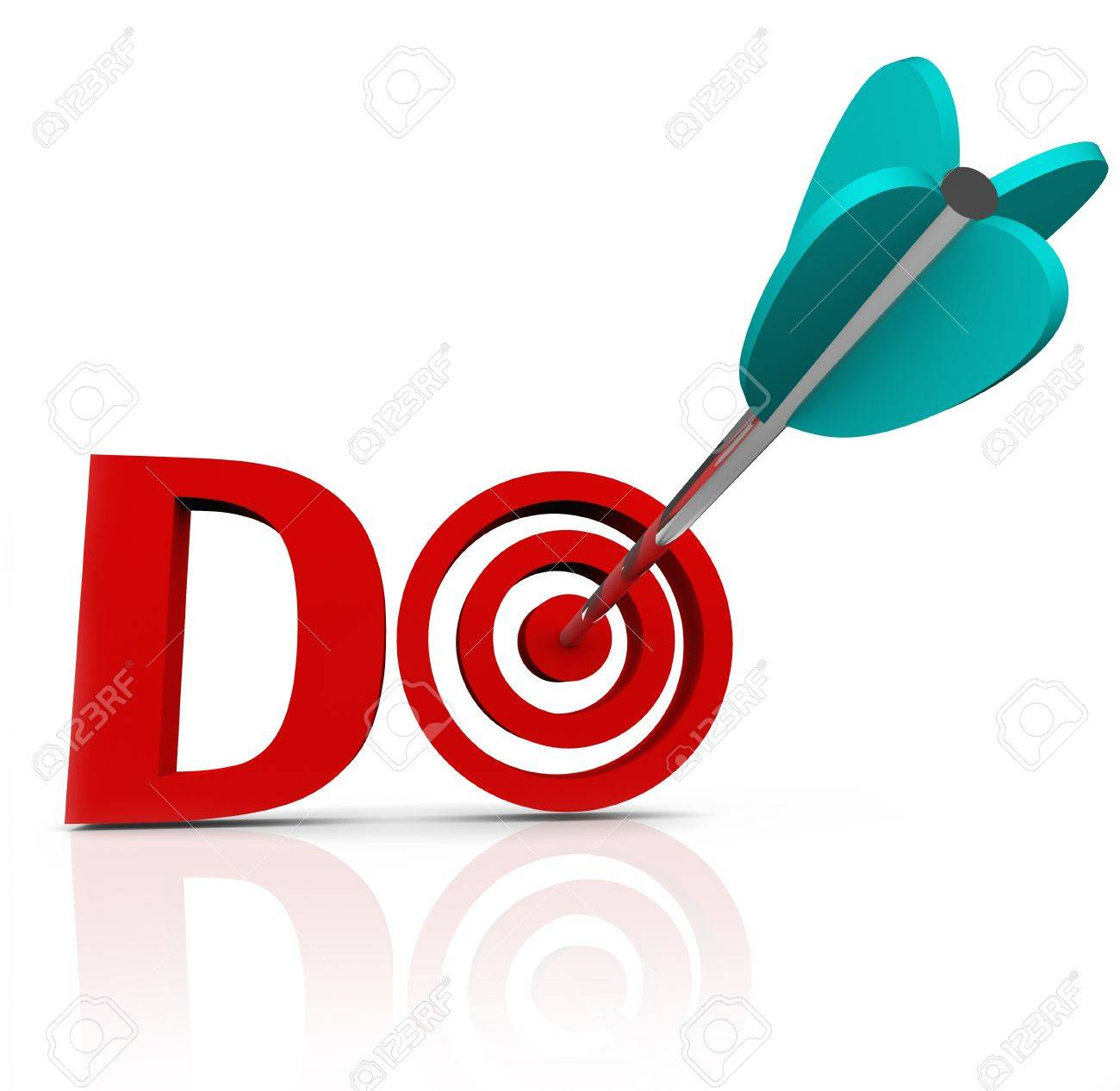 The word Do in red 3d letters with an arrow in a bulls-eye to symbolize taking action and having initiative to act in achieving or accomplishing a goal or mission Stock Photo - 20622189