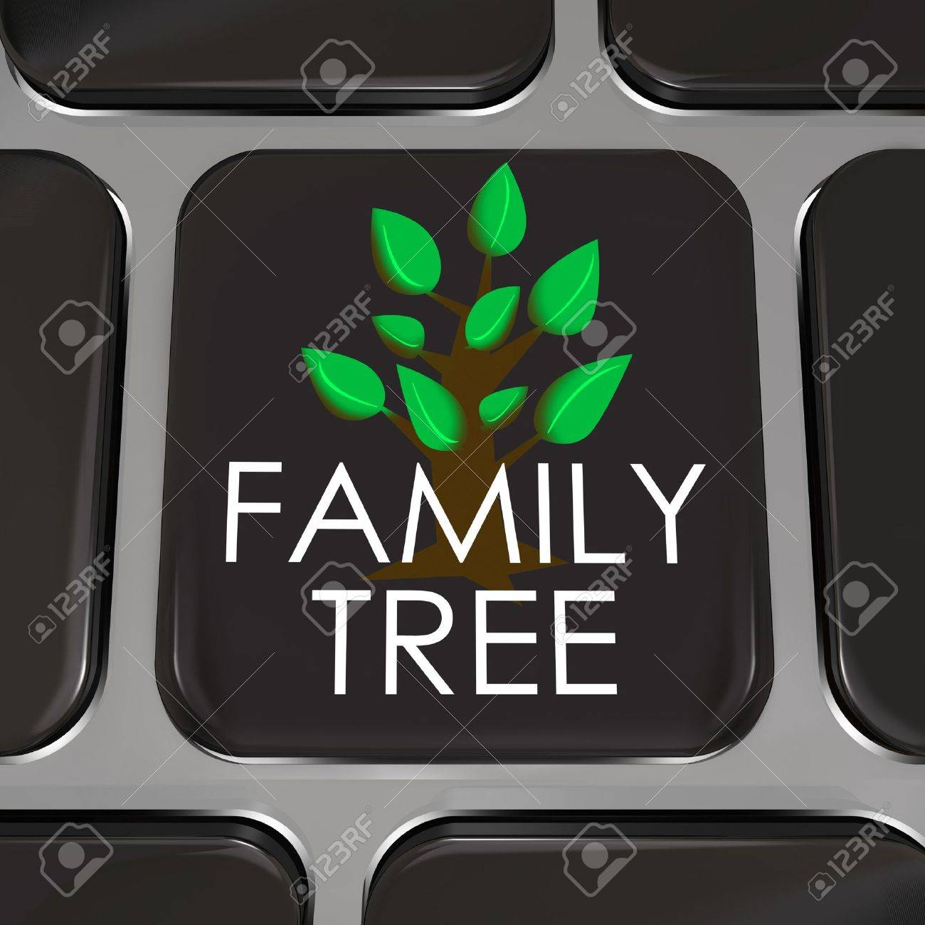 a computer keyboard key with the words family tree and picture