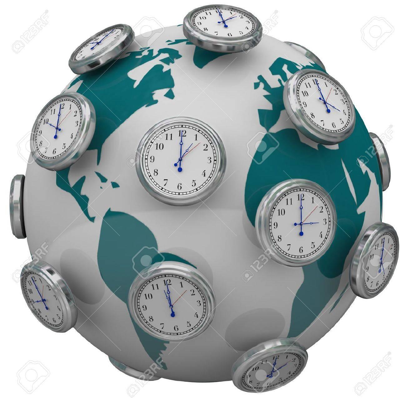 Many Clocks Around The World To Illustrate International Time ...