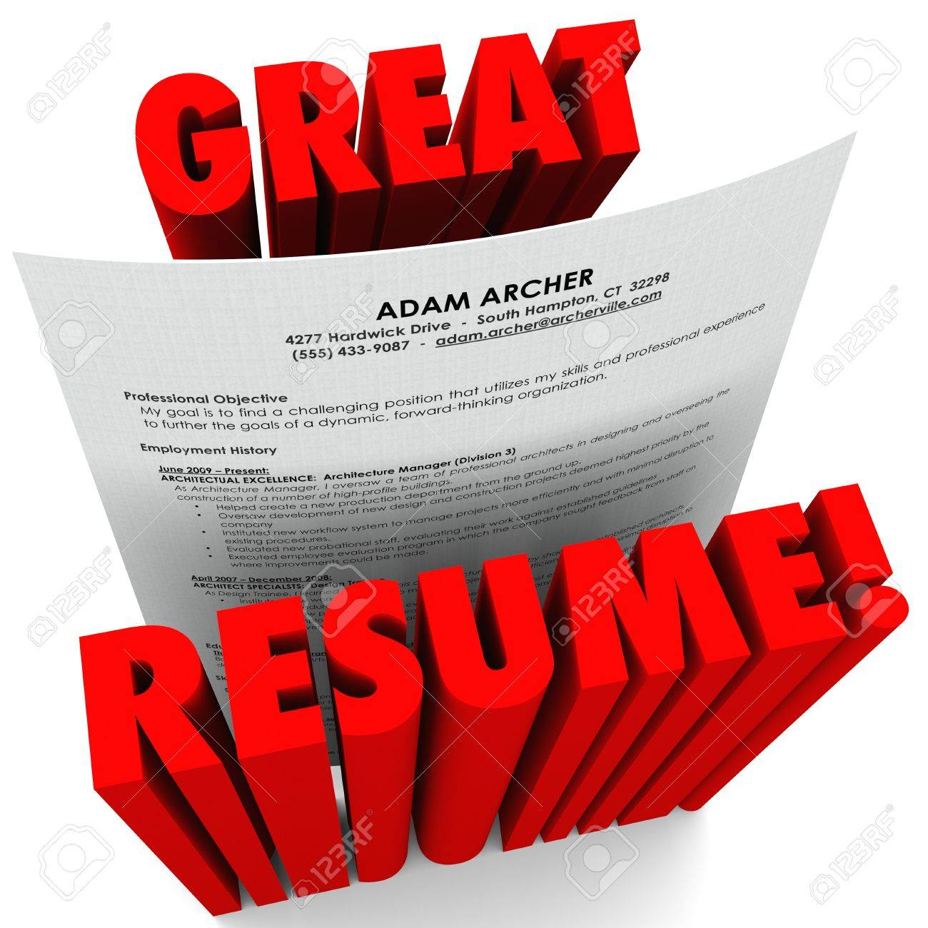 The Words Great Resume And A Document With All Necessary Stock