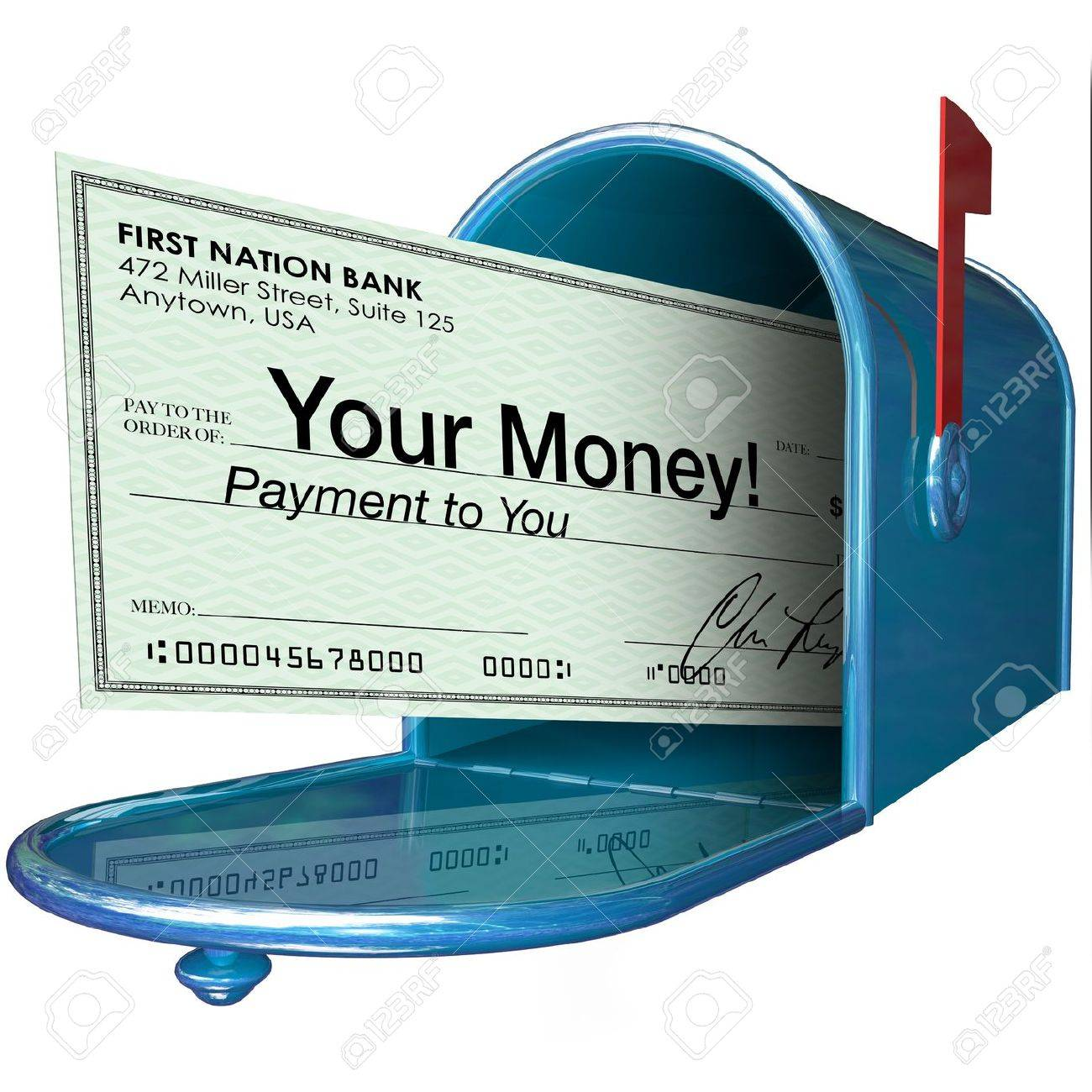 A Check With The Words Your Money Arrives In Your Mailbox As ...