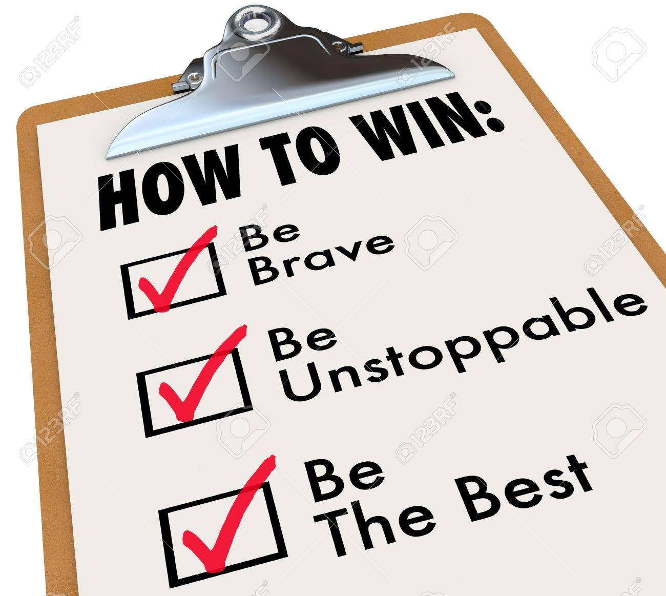 The words How to Win and a checkmark of things to do for achieving success - be brave, unstoppable and the best Stock Photo - 20994526