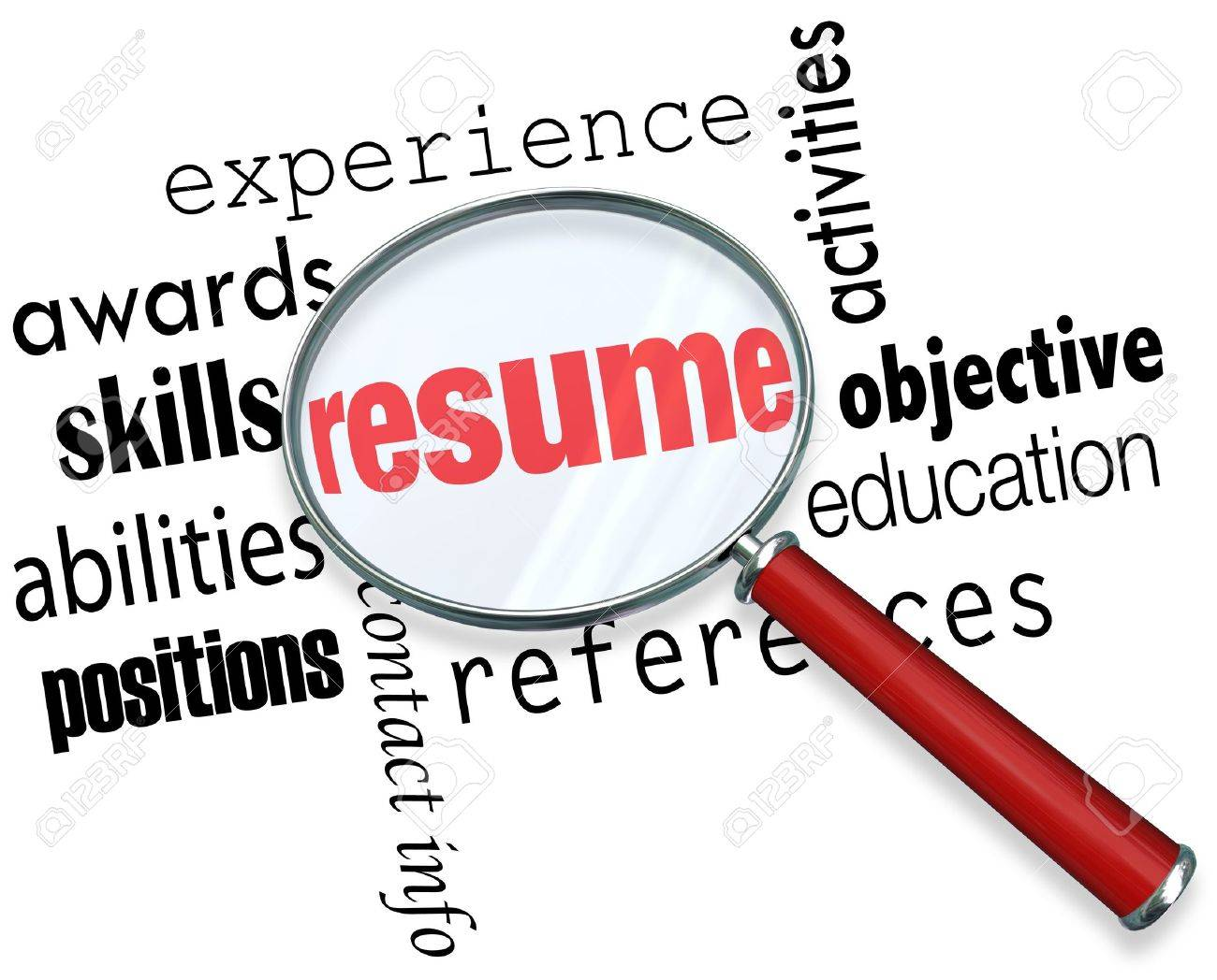 a magnifying glass over the word resume surrounded by related a magnifying glass over the word resume surrounded by related terms such as experience awards