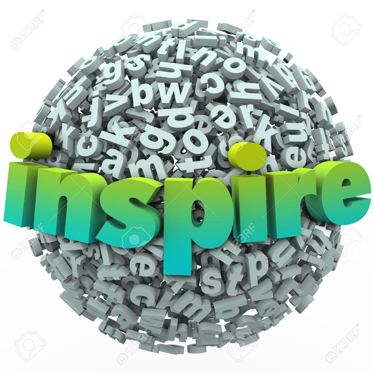 The word Inspire on a ball of 3d letters to illustrate learning and education from an inspirational teacher or coach - 21130988