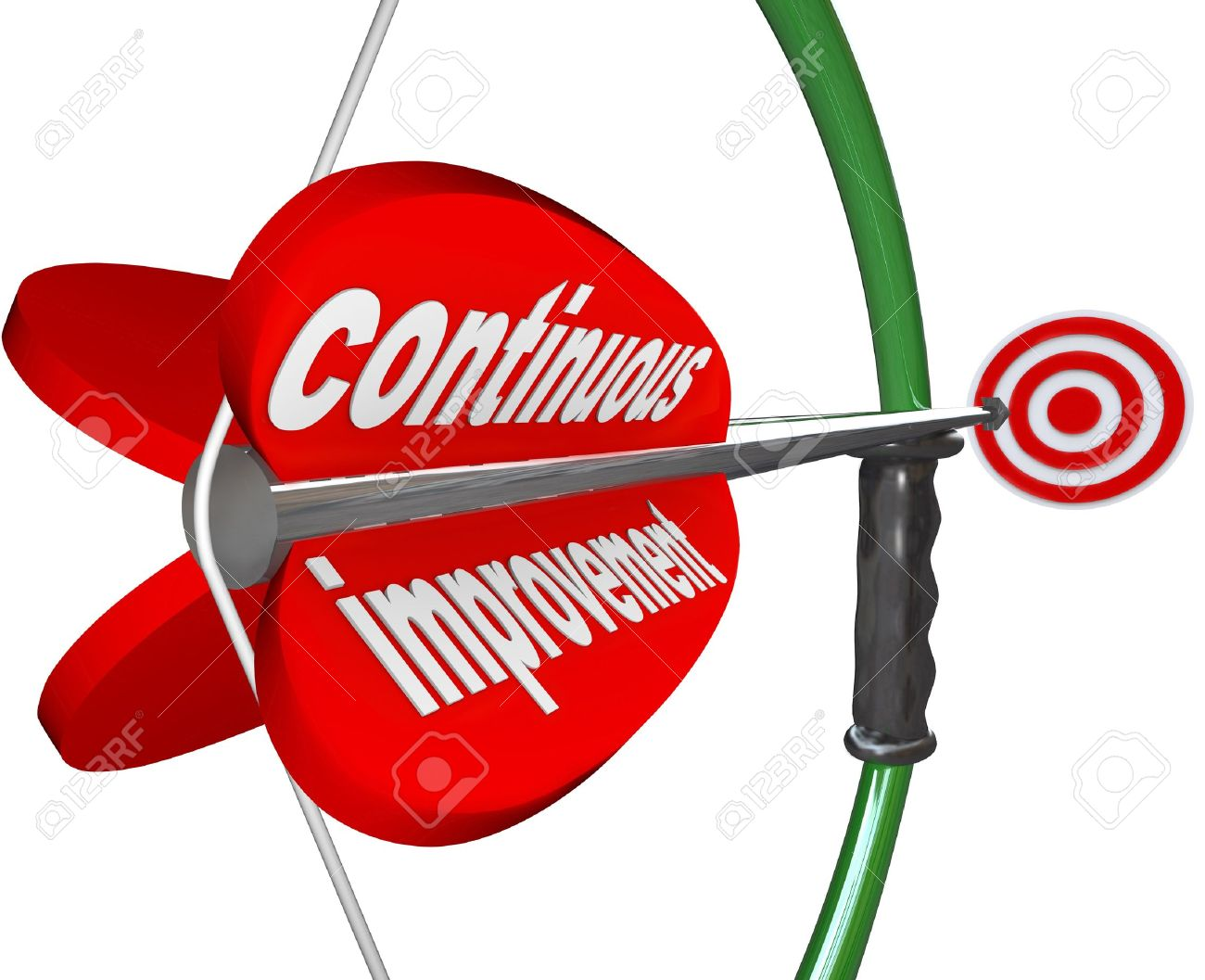 The words Continuous Improvement on an arrow airmed by a bow at a target to illustrate constant increase in quality, skill, knowledge or success Stock Photo - 21531022