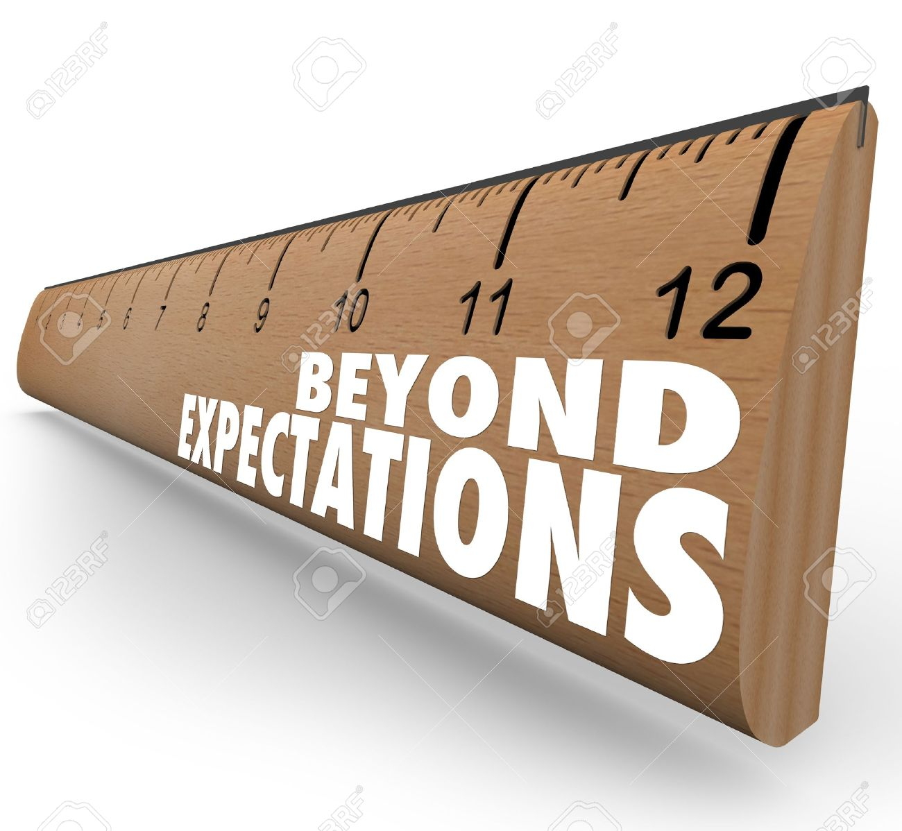 the words beyond expectations on a ruler to illustrate great stock photo the words beyond expectations on a ruler to illustrate great results good grades or other measurements met or surpassed in school