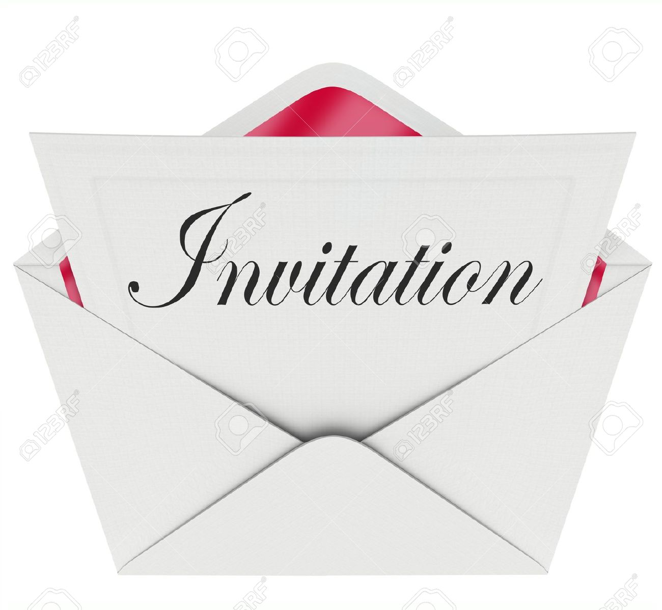 the word invitation on a card in an envelope formally inviting