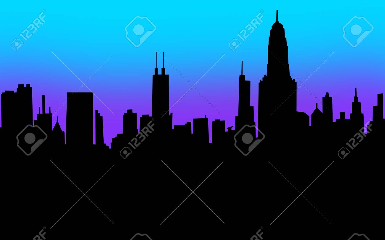 A city skyline in silhouette with black blank copyspace for your message Stock Photo - 21750322