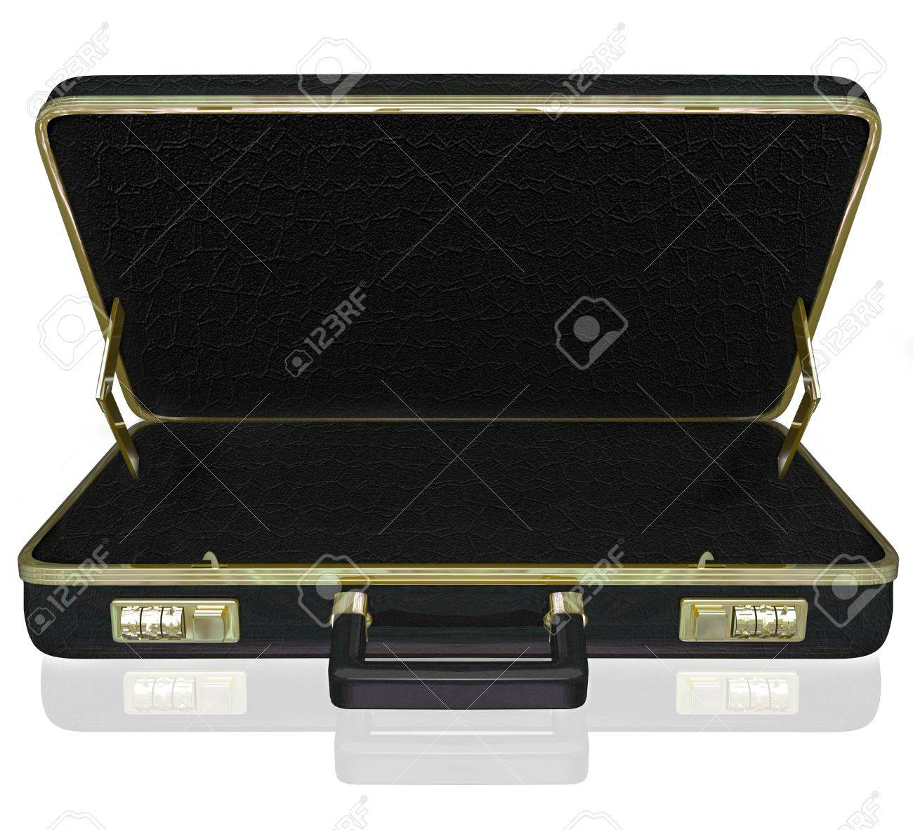 An empty black leather briefcase with space for your copy, message or contents inside Stock Photo - 21750333