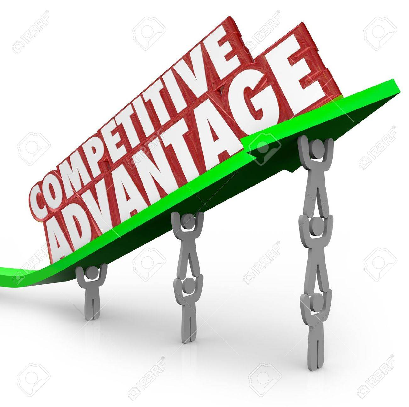 the words competitive advantage on an arrow lifted by a team stock photo the words competitive advantage on an arrow lifted by a team working together to illustrate the better qualities of one product or company