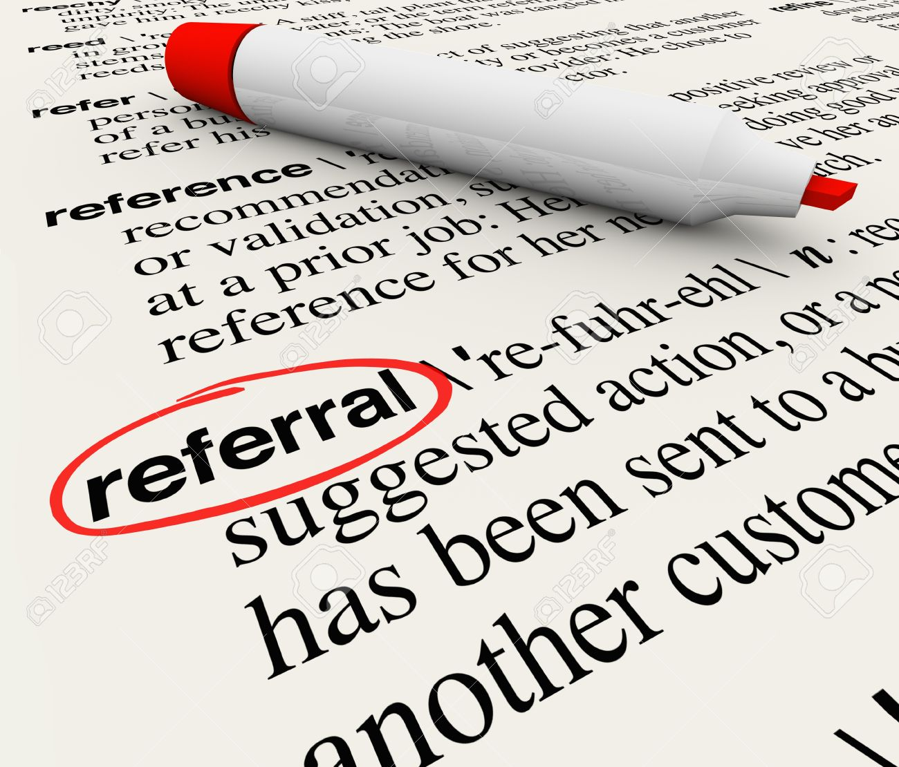 the word referral circled in a dictionary showing its definition stock photo the word referral circled in a dictionary showing its definition as a reference or receommendation by a customer or employer