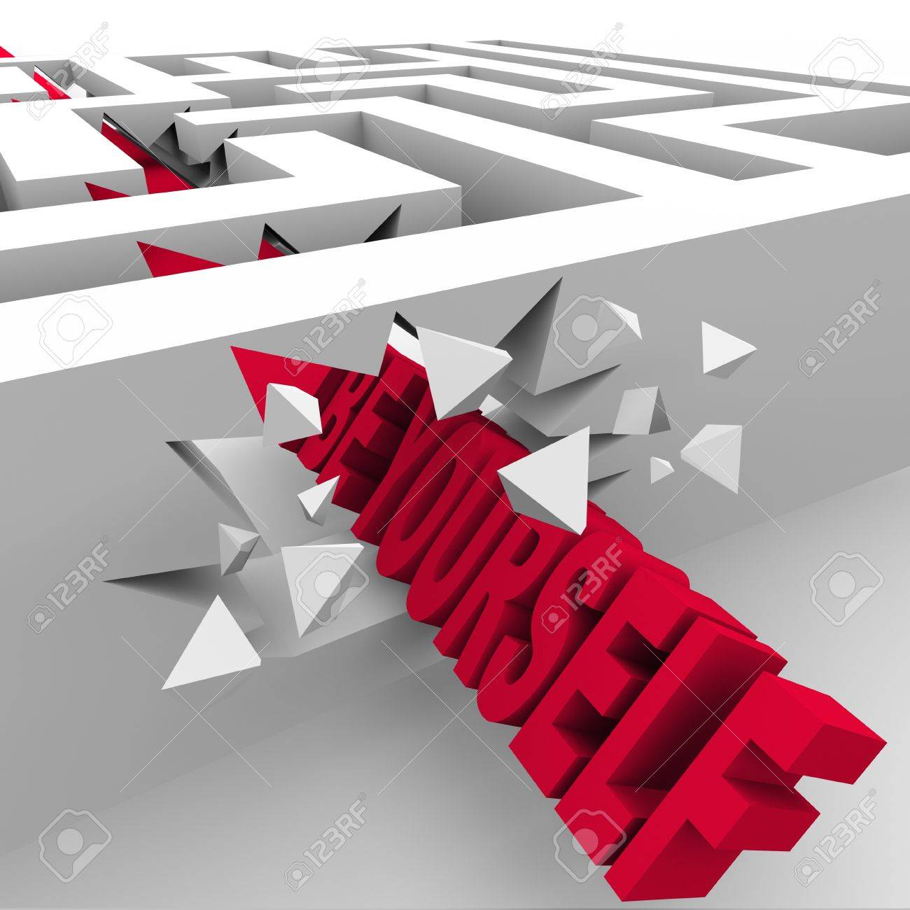 The words Be Yourself breaking through the walls of a maze or labyrinth to illustrate asserting your unique independence and changing the rules Stock Photo - 22027256