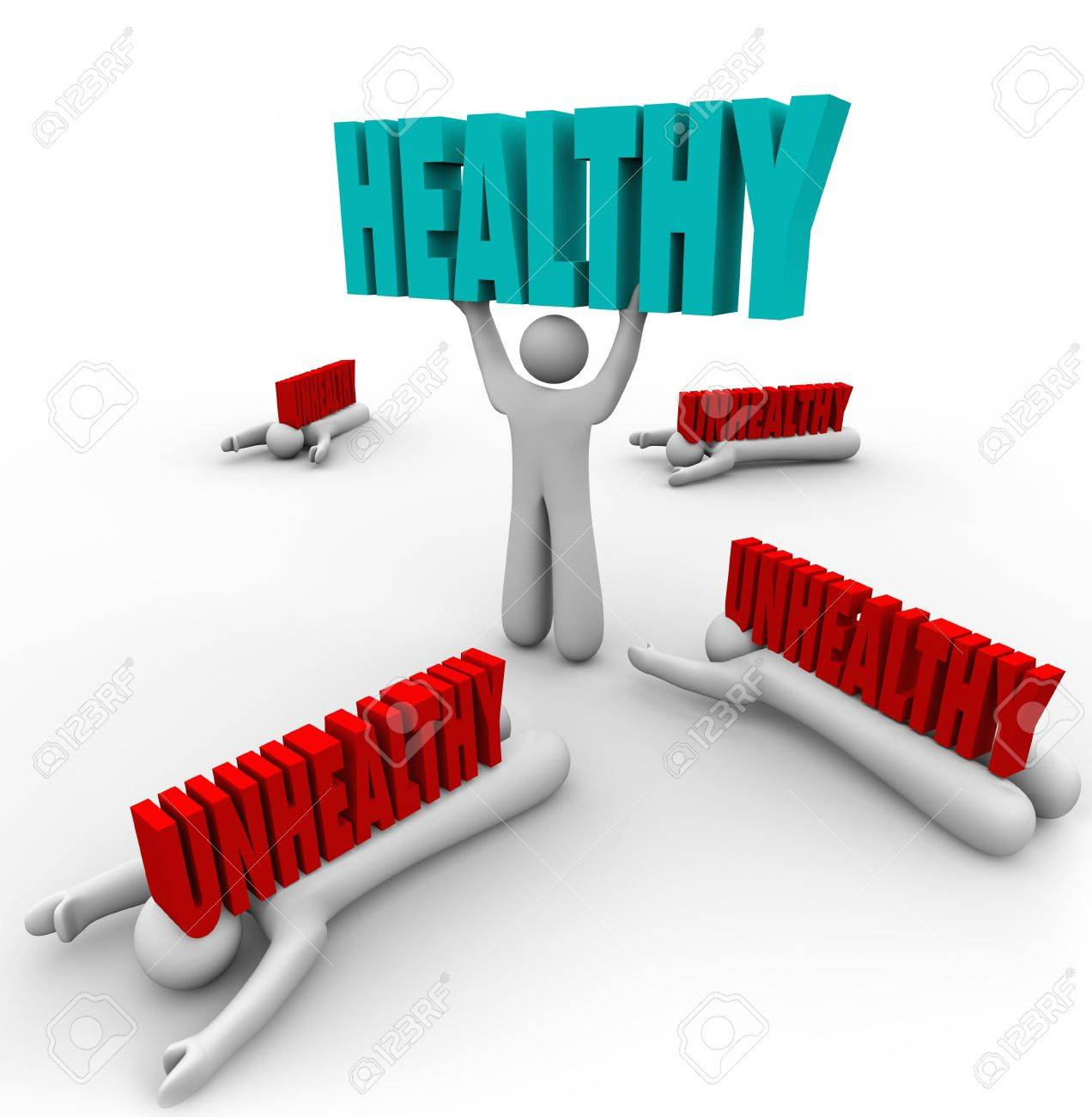 One person in a group is in good health and lifts the word Healthy while others are sick or ill and crushed by the word Unhealthy Stock Photo - 22027258