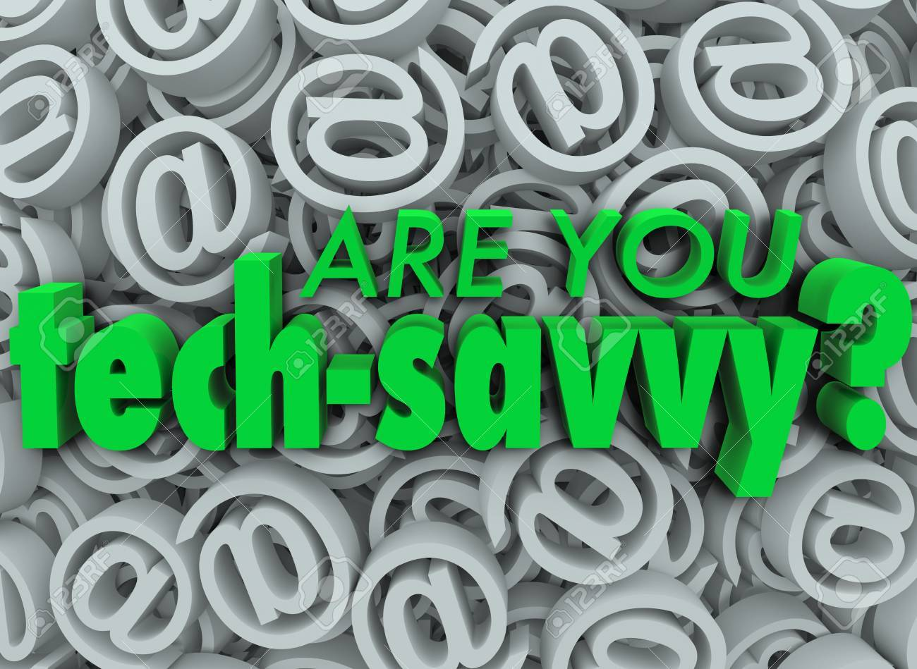 The words Are You Tech Savvy on a background of email at symbols or signs Stock Photo - 22438362