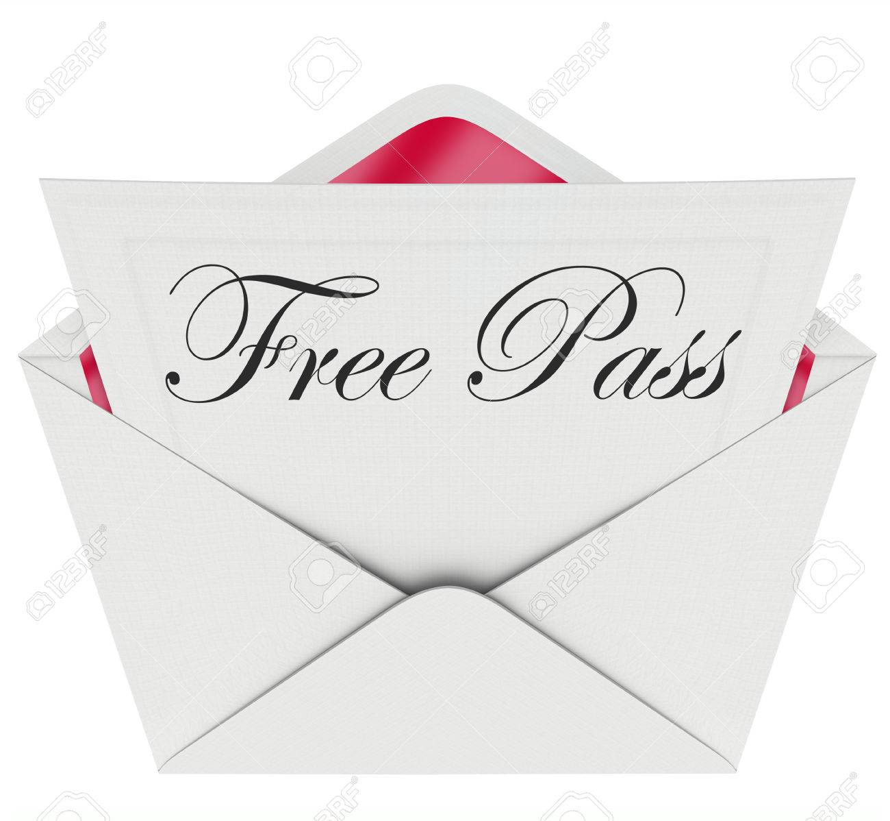 The Words Free Pass On A Card Or Invitation In An Open Envelope