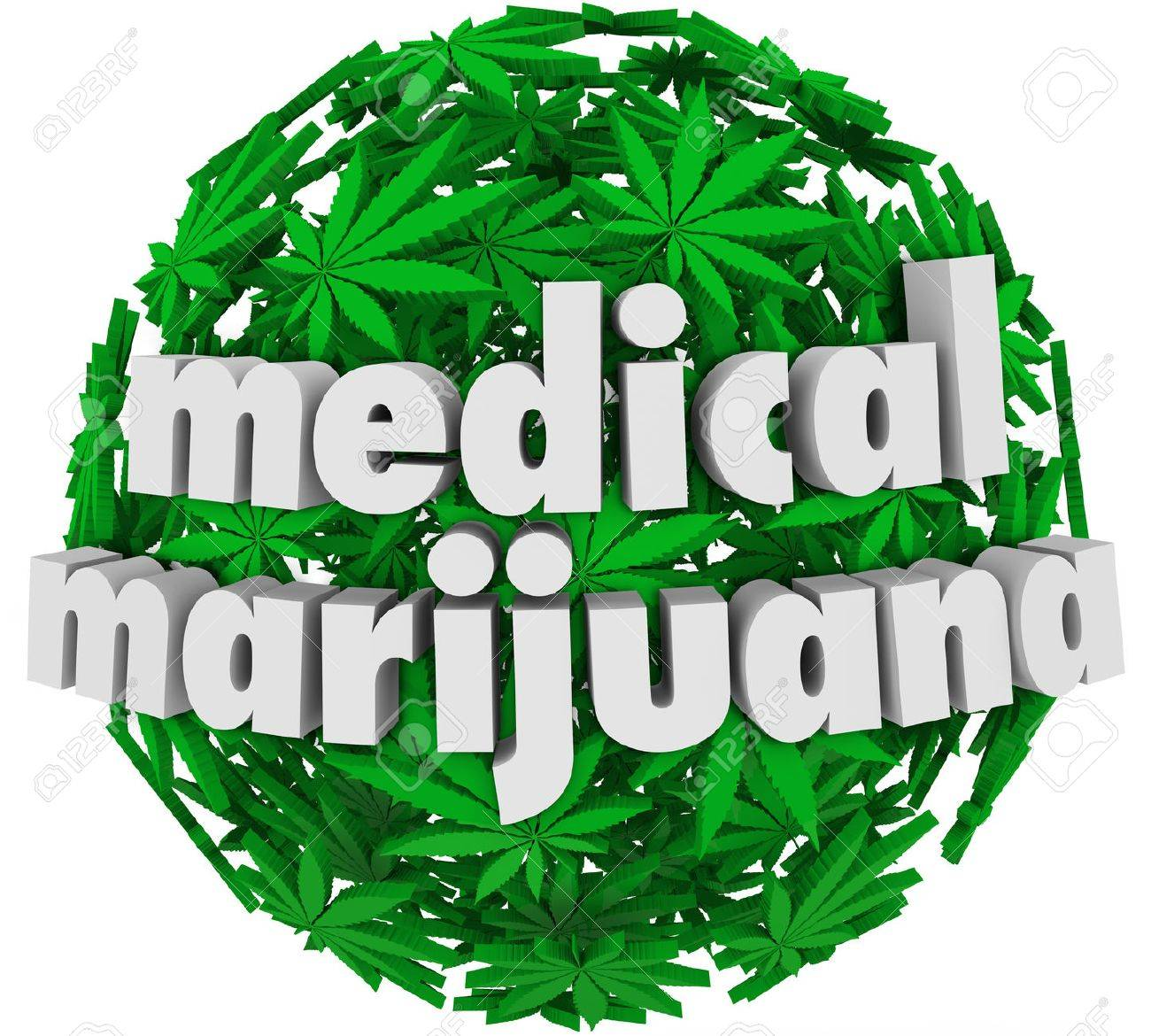 The words Medical Marijuana on a sphere of green pot leaves to advertise a legal pharmacy offering mj as a prescription for various health conditions Stock Photo - 22869430