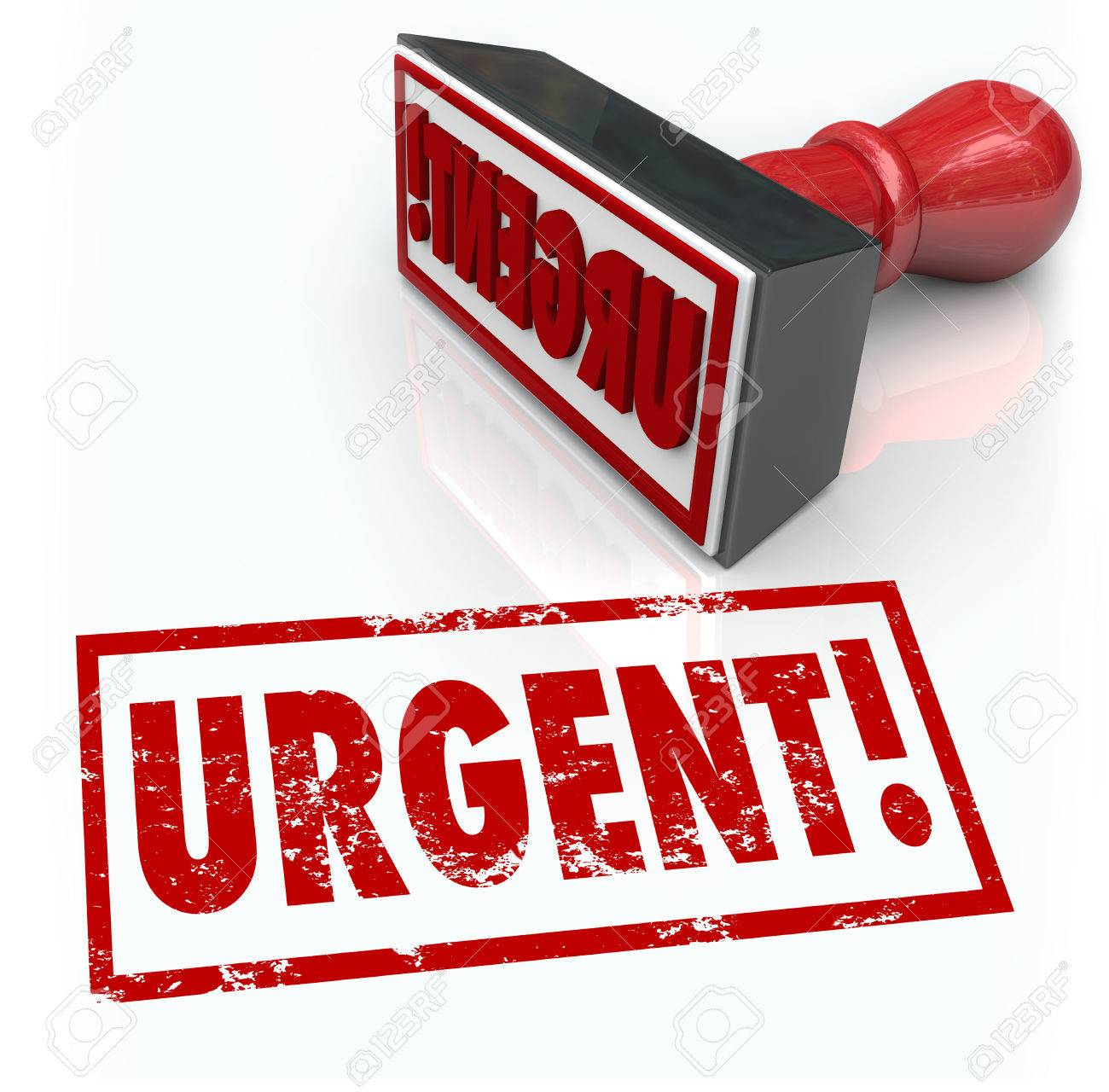 The word Urgent on a red rubber stamp to illustrate an emergency or action required as a top crucial priority or vital document to sign and return Stock Photo - 22869475
