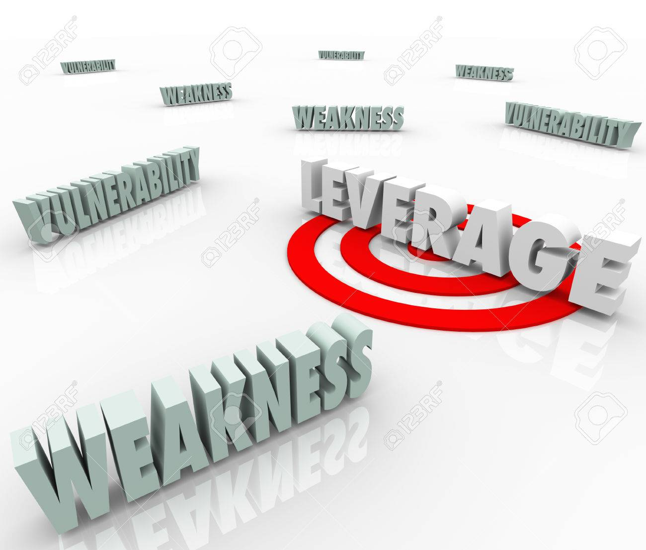 The word Leverage targeted with a bull's eye amid vulnerability and weakness to illustrate a competitive advantage or edge in negotiation and bargaining Stock Photo - 22869488