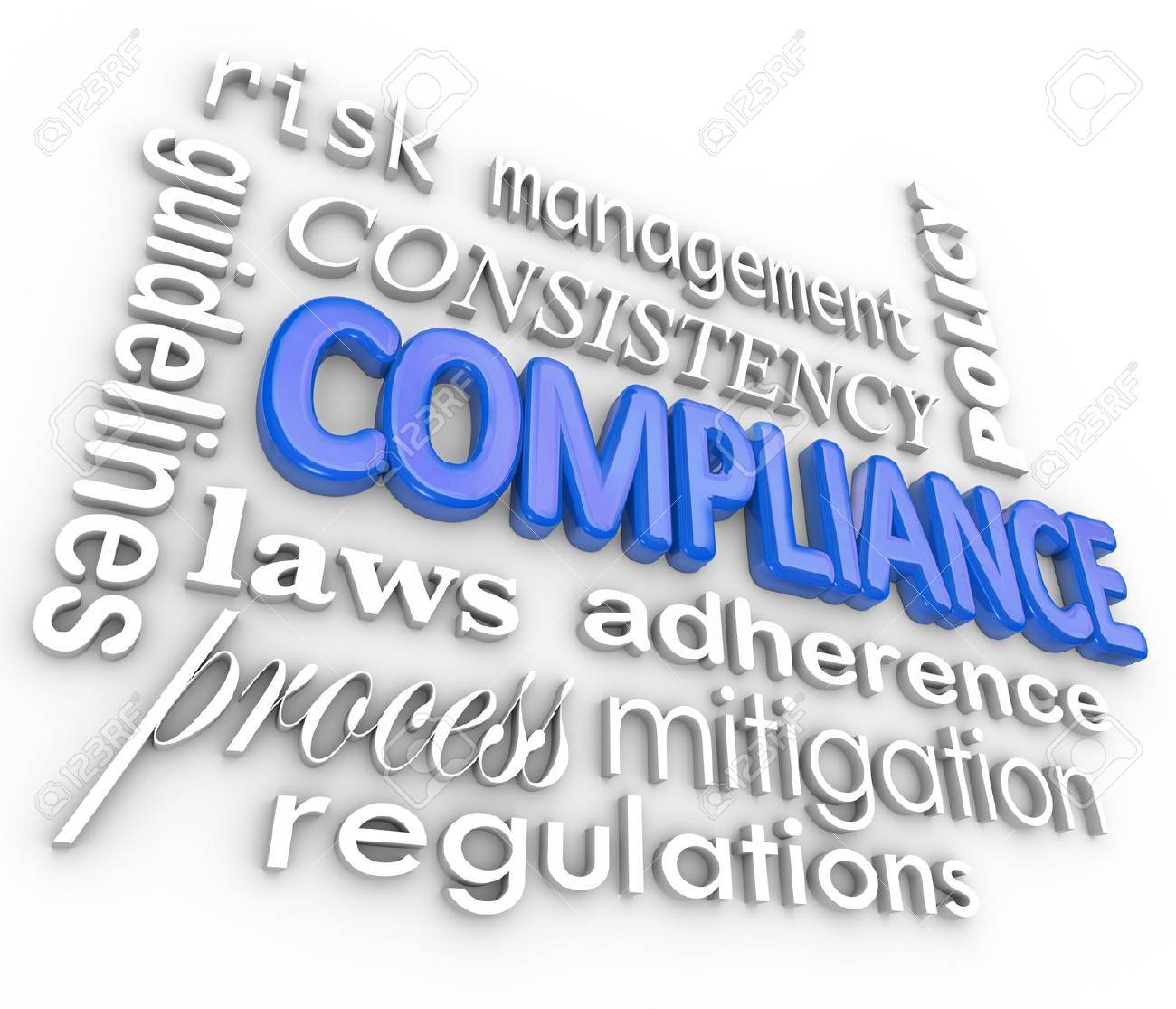 The word Compliance in blue 3d letters surrounded by related terms such as risk management, mitigation, guidelines, law, process, regulation, consistency, adherence and policy Stock Photo - 22869501