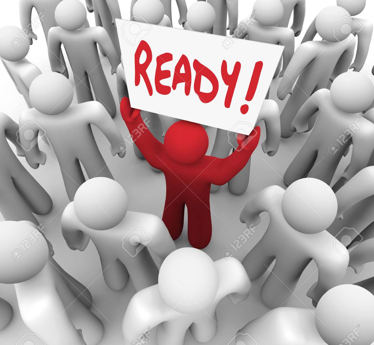 The word Ready on a sign held by a unique red person in a crowd to illustrate being prepared for a test or embark on a journey or challenge Stock Photo - 23173235