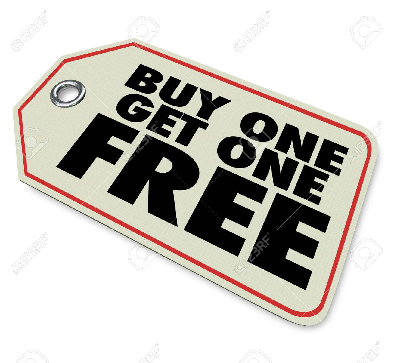 A Price Tag With Words Buy One Get One Free To Illustrate A Special  Discount Or