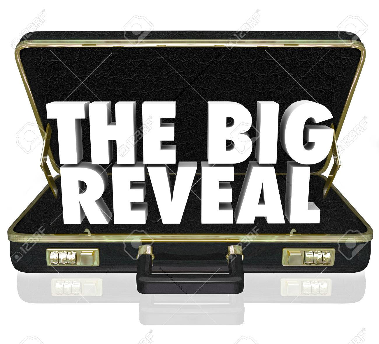A black leather briefcase with words The Big Reveal inside as a surprise or shocking discovery being shared or presented with an audience or customer Stock Photo - 23322953