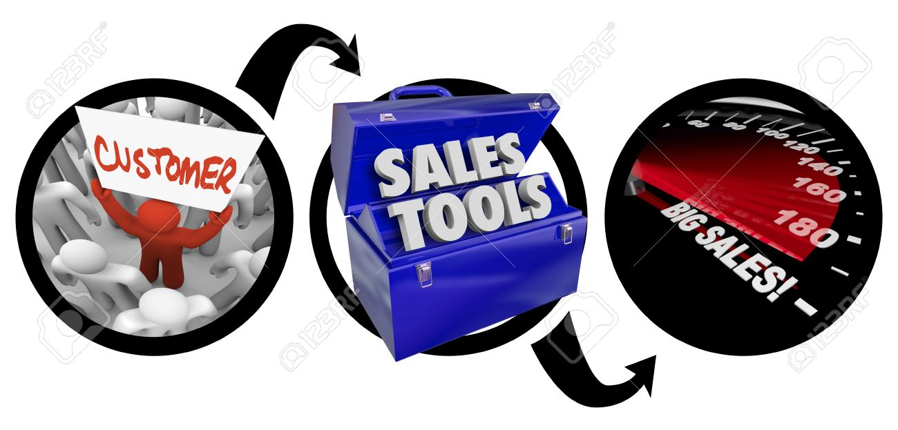 A diagram of three circles showing a customer in a crowd, a toolbox of sales tools and a speedometer with words Big Sales to illustrate successful impelementation of selling tactics and techniques Stock Photo - 23457994