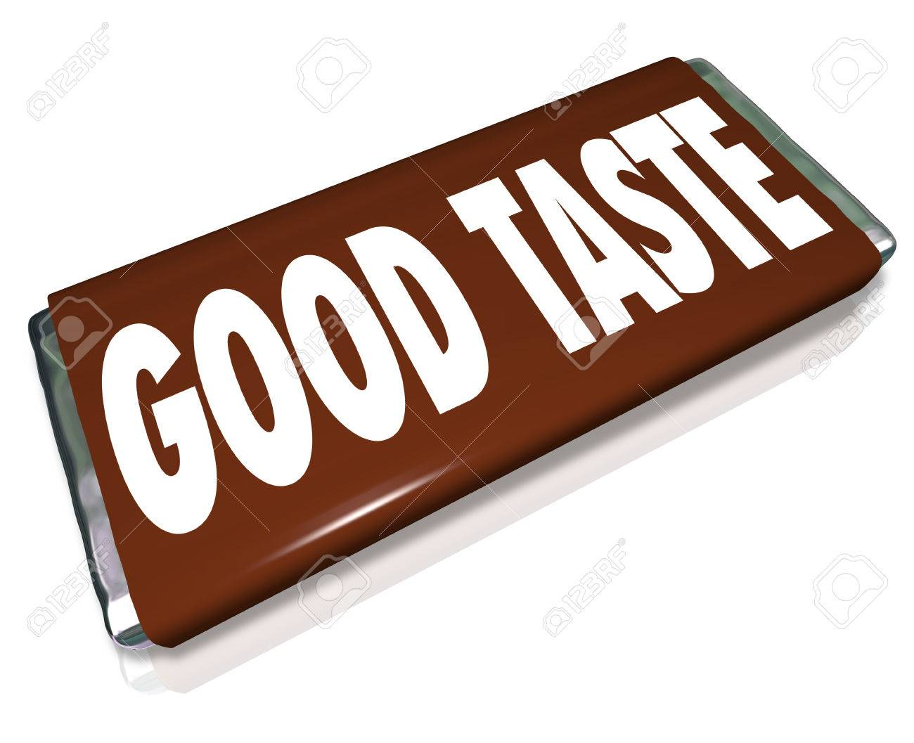 a brown chocolate candy bar wrapper with the words good taste to illustrate someone with flair