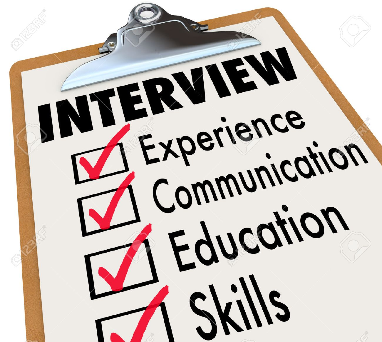interview qualifications a job candidate must possess on a checklist clipboard including experience communication