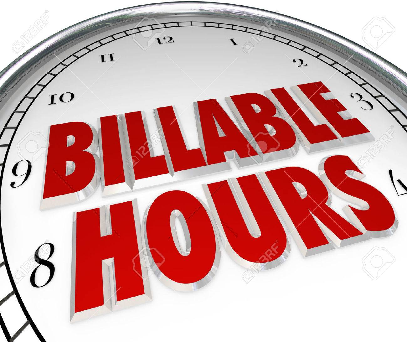 billable hours words on clock face to illustrate time keeping