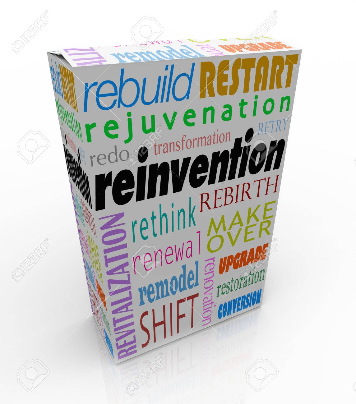 Reinvention words on a product or box or package to illustrate merchandise that has undergone a rebuild, restart, redo, rejuvenation, revitalization, rethink, rebirth, rethink or makeover Stock Photo - 23988839