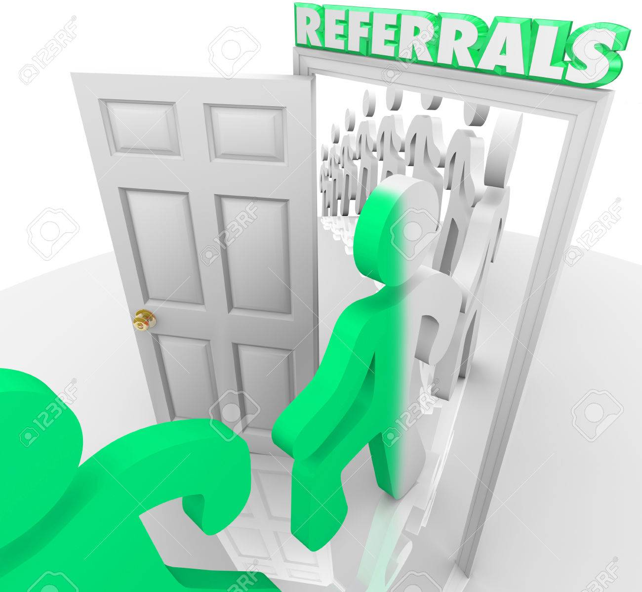 Referrals doorway and customers marching through after being referred by friends and family to visit a store and purchase goods and services Stock Photo - 24566760