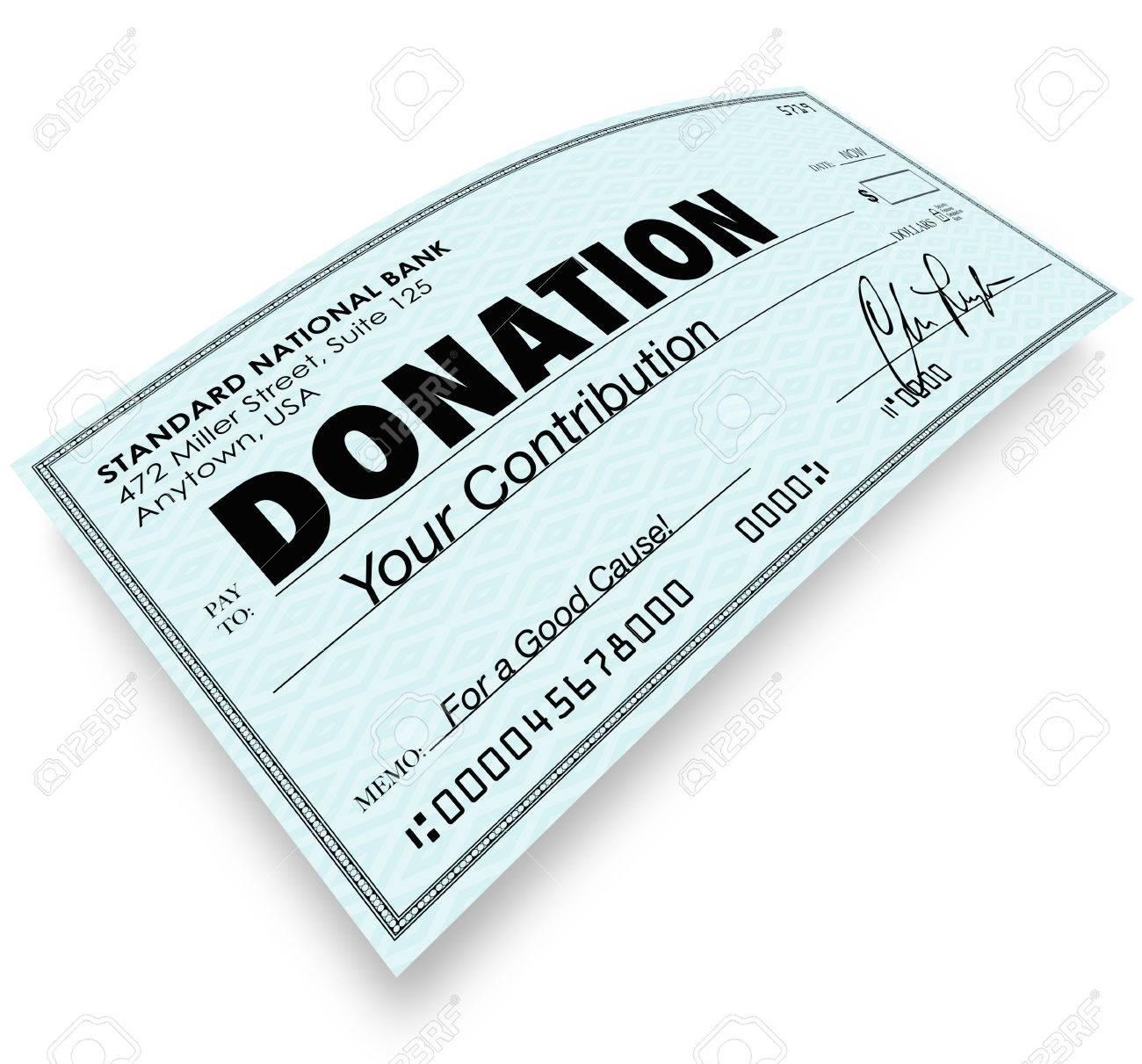 Palabra Donación De Un Cheque Para Ilustrar Una Contribución O Un ...