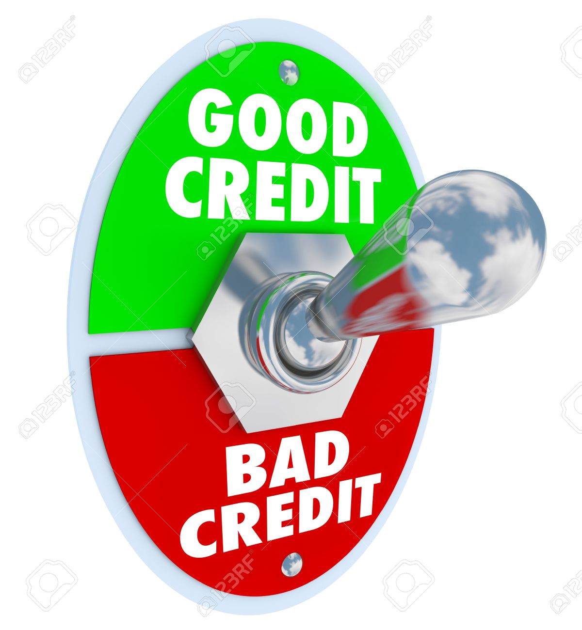 good vs bad credit score rating illustrated by a lever or switch good vs bad credit score rating illustrated by a lever or switch to improve your grade
