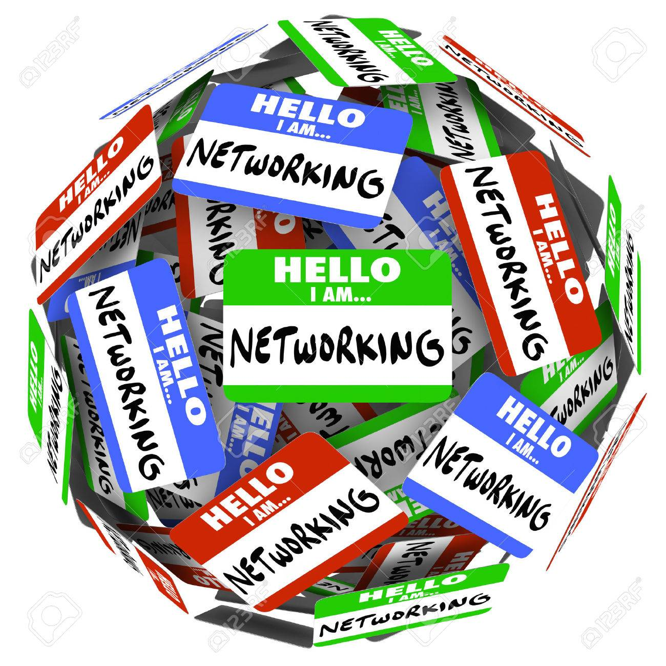 hello i am networking nametags and stickers in a ball or sphere