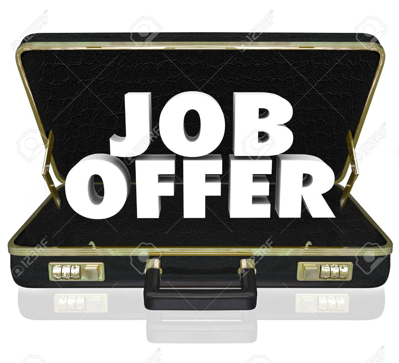 job offer 3d words in a black leather briefcase to illustrate job offer 3d words in a black leather briefcase to illustrate a career opporunity by being