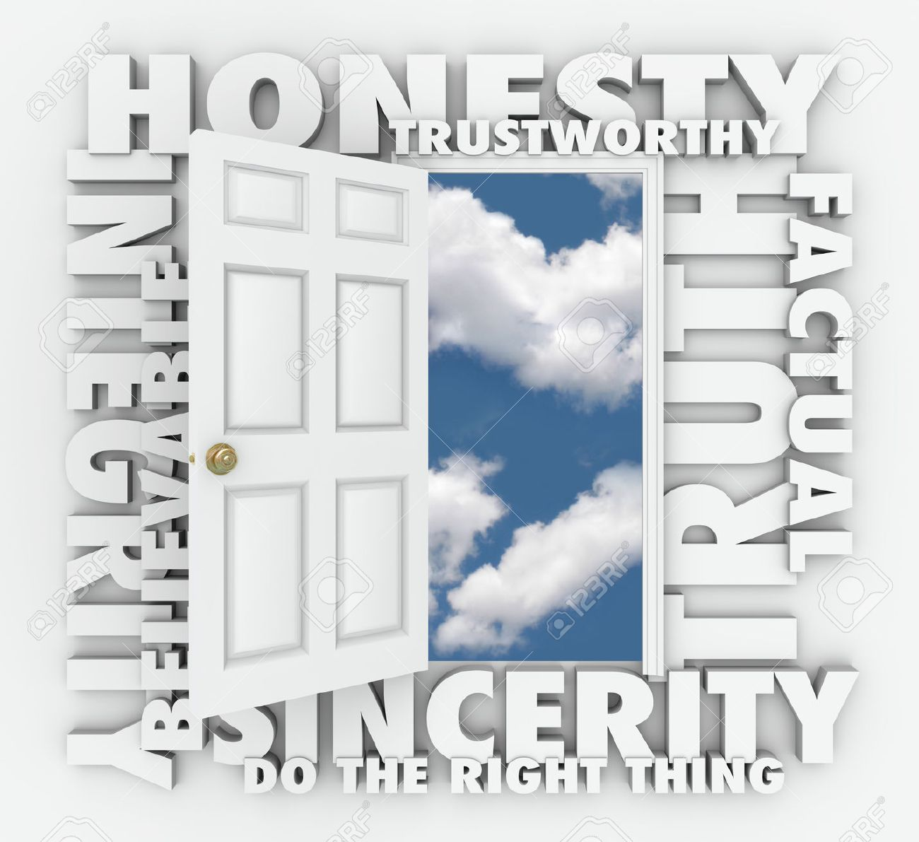 Integrity stock photos royalty free business images honesty integrity believable trustworthy truth and sincerity 3d words around a door biocorpaavc Image collections