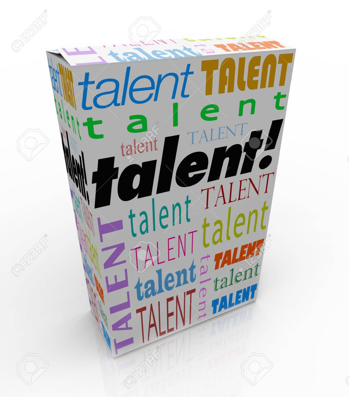 talent word on a box or product package to sell yourself and stock photo talent word on a box or product package to sell yourself and your skills to a prospective employer and get hired for a job