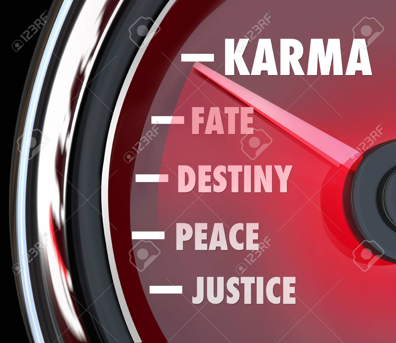 Karma and related words like justice, peace, destiny and fate on a speedometer Stock Photo - 26582484