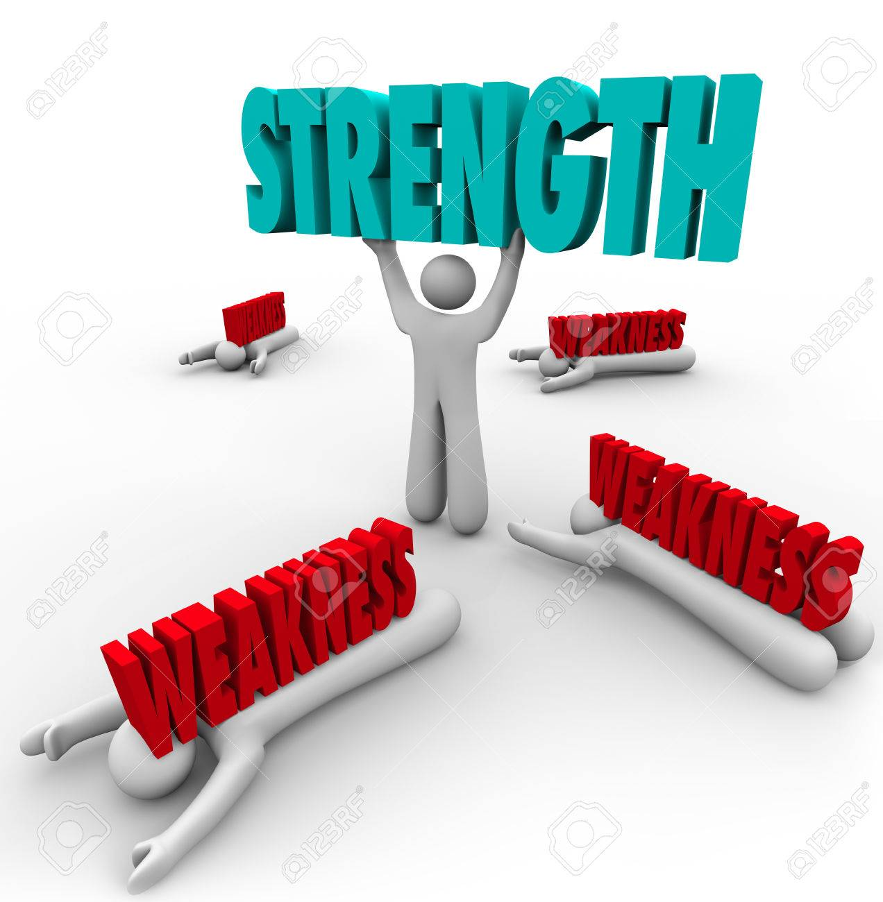 weakness images stock pictures royalty weakness photos and weakness strength word lifted by a strong or skilled person while the competition is crushed