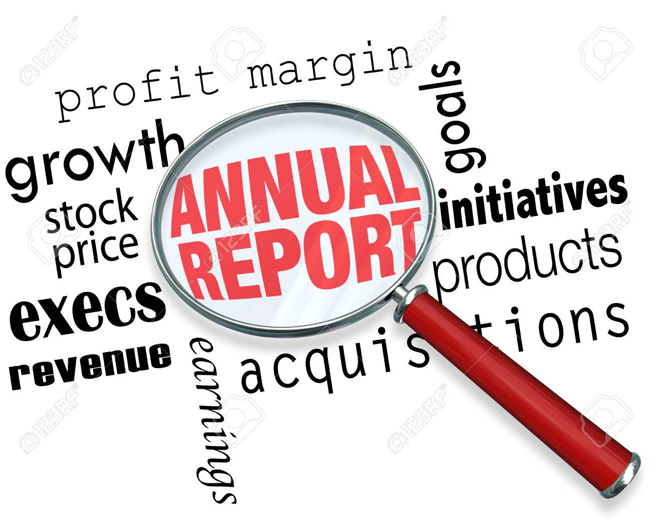 annual report words under a magnifying glass to illustrate annual report words under a magnifying glass to illustrate searching researching or looking for financial