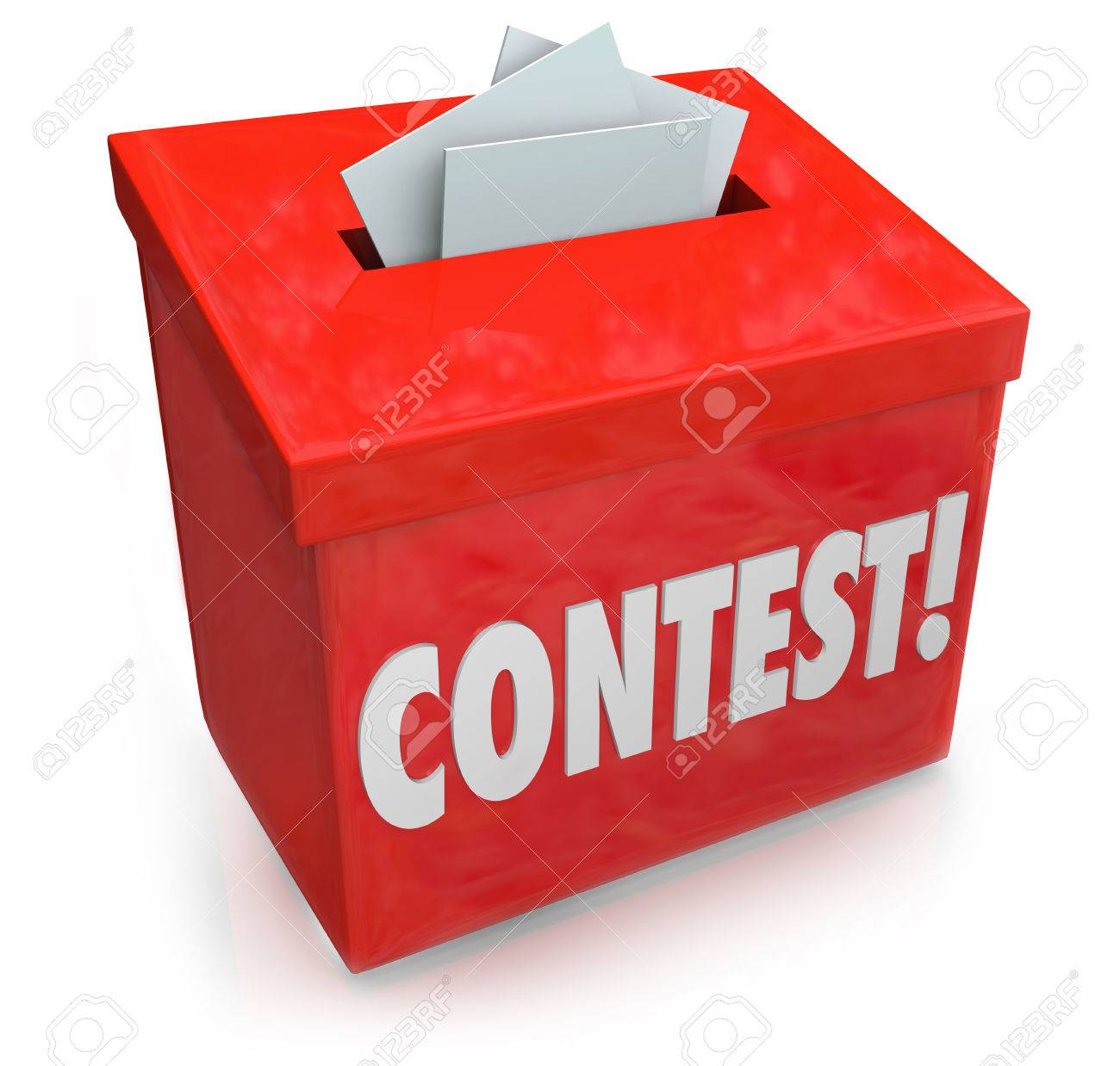 Contest word on a 3d red collection box to enter your entry form and compete to win a prize, award or jackpot in a random drawing - 26955076