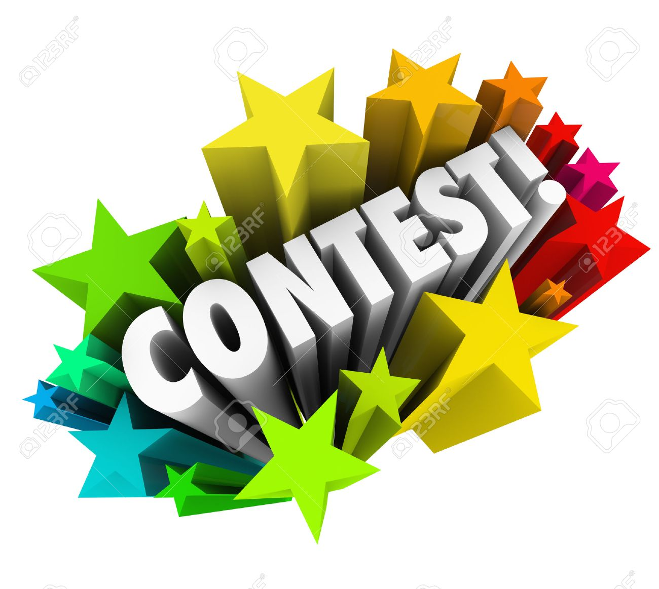 Contest word in 3d letters to announce exciting news of a raffle drawing game