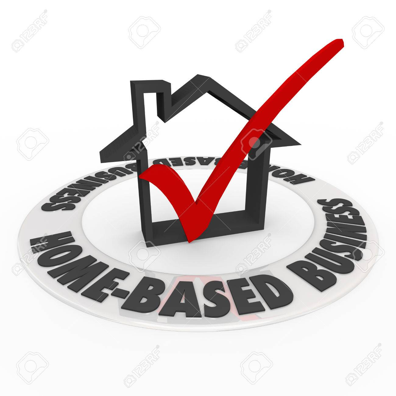 Home Based Business Words On A Ring Around A House Icon And Check ...