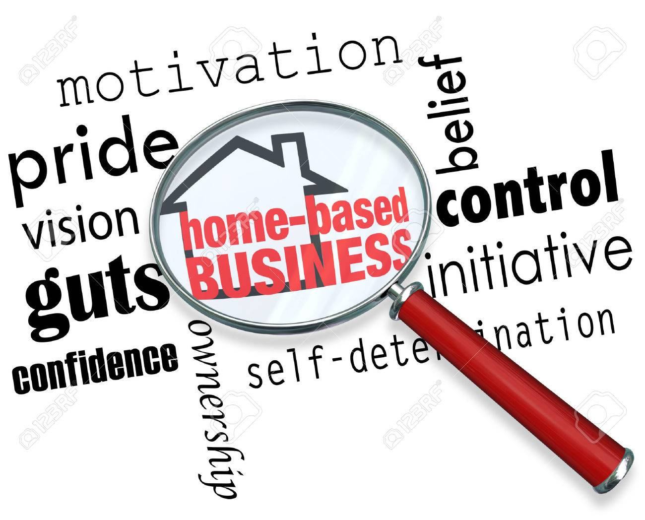 home based business words and house icon under a magnifying glass home based business words and house icon under a magnifying glass surrounded by qualities of a