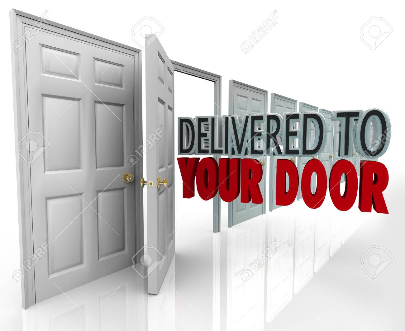 Delivered to Your Door words coming out open doorway to symbolize special expedited service such as
