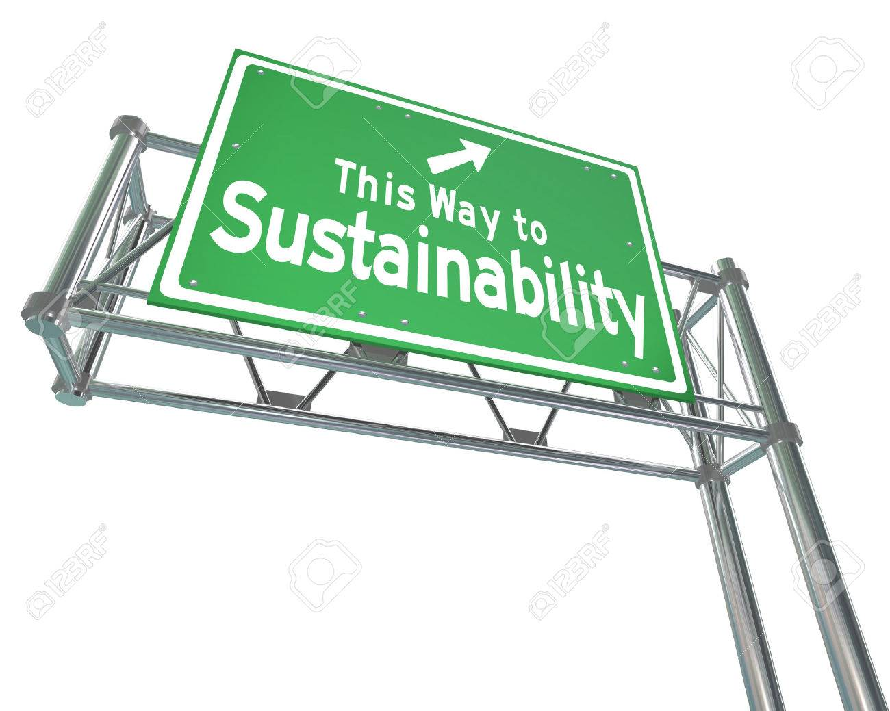 This Way to Sustainability words on a green freeway sign to illustrate business practices that manage renewable resources for a viable long term plan that benefits everyone - 27935301
