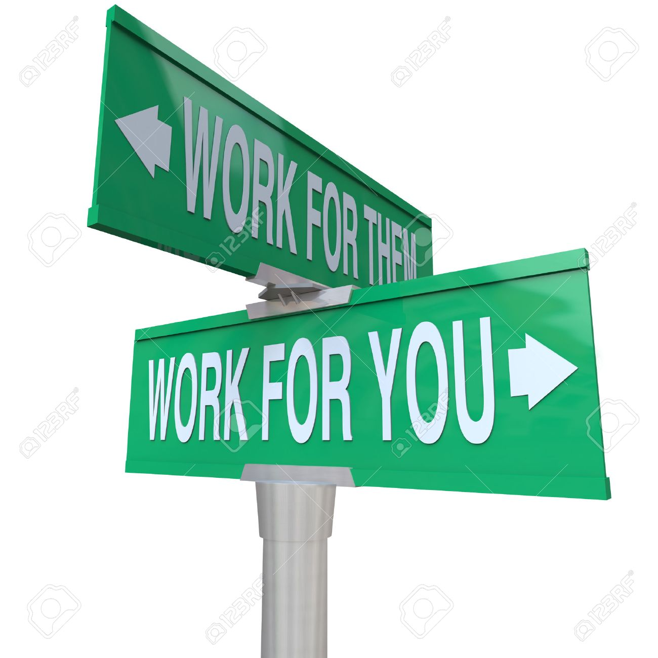 Work for You words on a green road sign vs working for them telling you to start your own new business and become an entrepreneur - 27941416