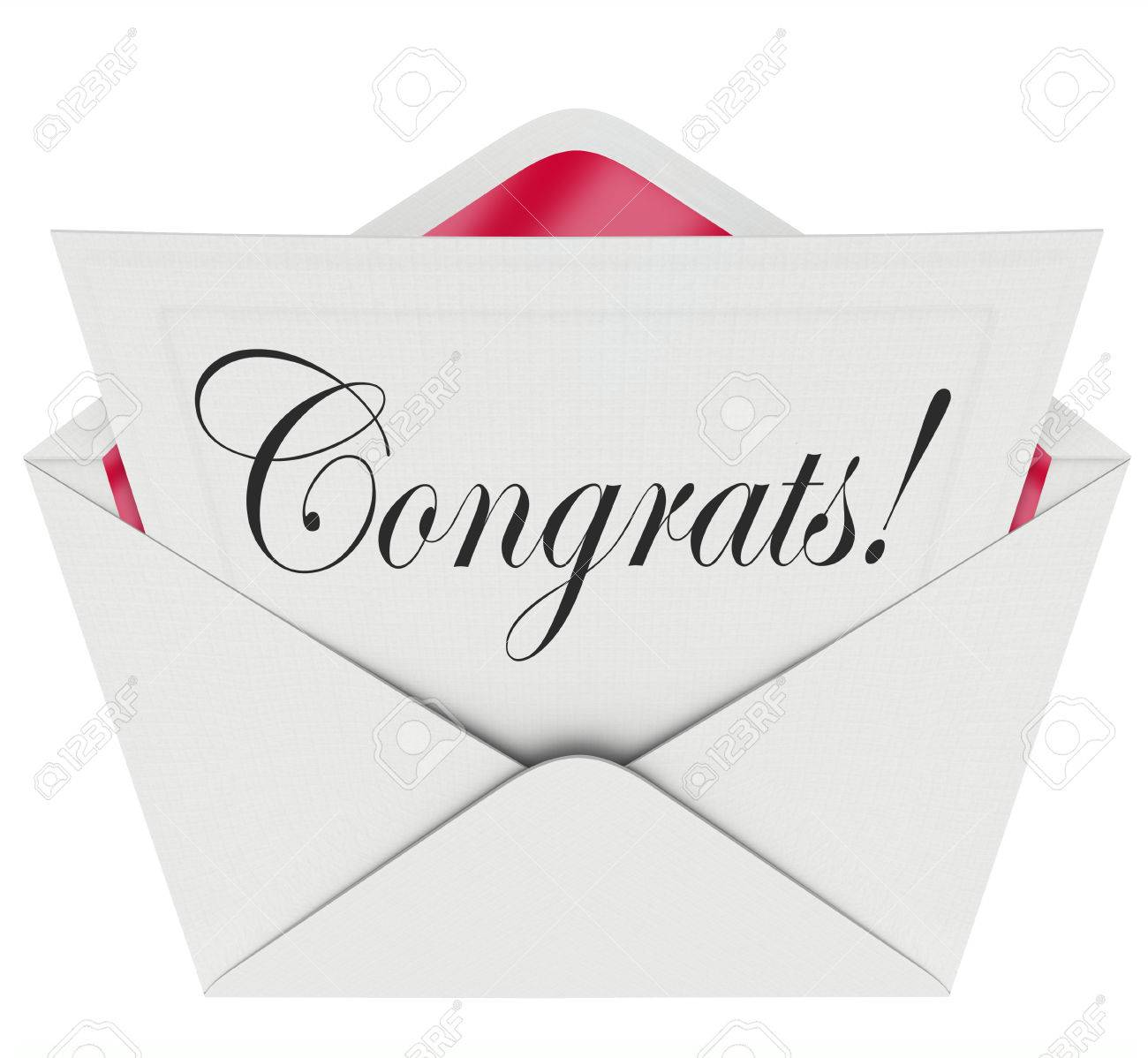 congrats word on a letter note or card coming out of an open congrats word on a letter note or card coming out of an open envelope to